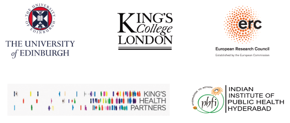 Logos: University of Edinburgh, King's College London, King's Health Partners, Indian Insitute of Public Health Hyberbad, European Research Commission